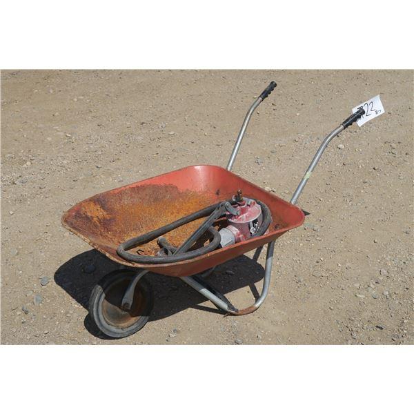 Solid Tire Wheel Barrow + Manual Hand Pump