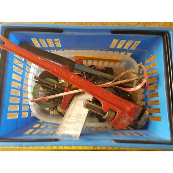 Pipe Wrench & Lot Misc. Tools