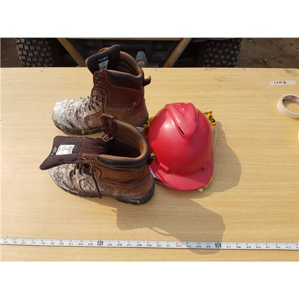 Size 11 Work Boots & Hard Hat