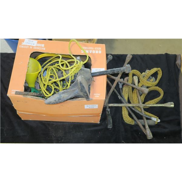 Lot of Misc. items Including Anchor, Tire Irons, Tow Rope, etc.
