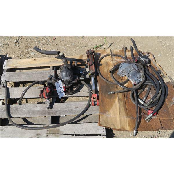 Lot of Hydraulic Hoses, Pumps & Controls, Hydraulic Ram