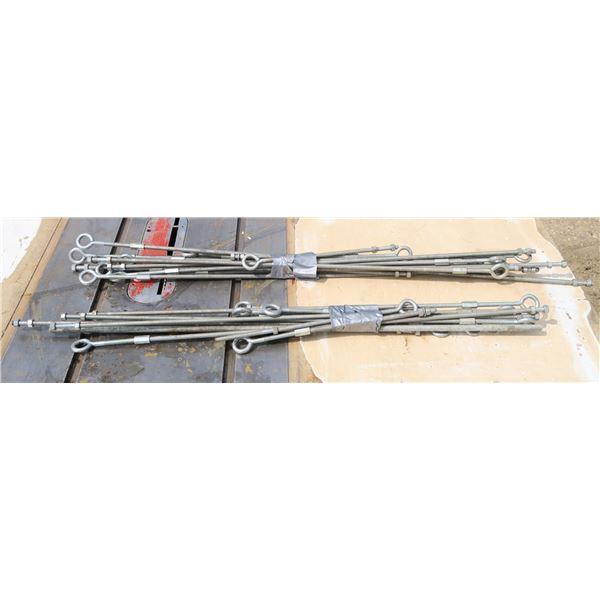 2 Bundles Threaded Rods w/ Eye Hooks