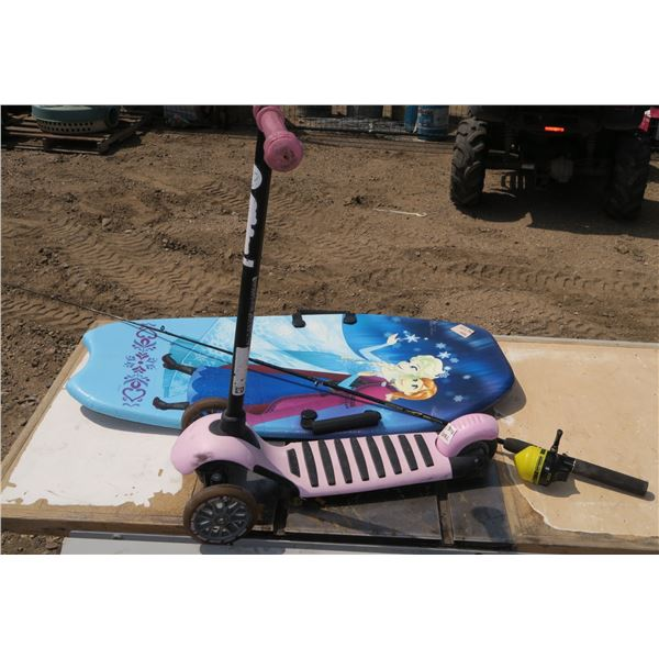Kids Scooter, Kids Frozen Themed Sled, Fishing Rod& Reel