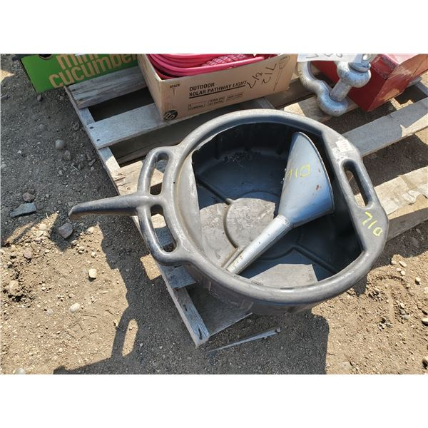 large plastic oil change tub & metal funnel