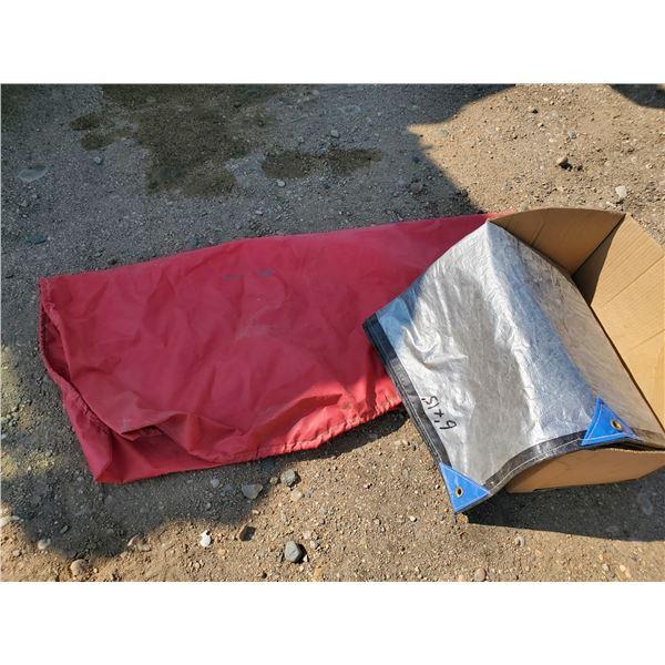 red grain hopper tarp & 6x15 ft inland silver/black tarp