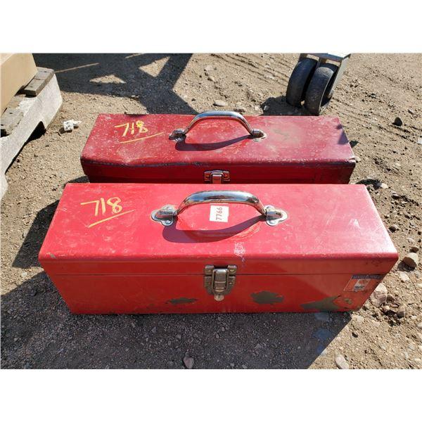 "2 red metal tool boxes 6"" & 19"""