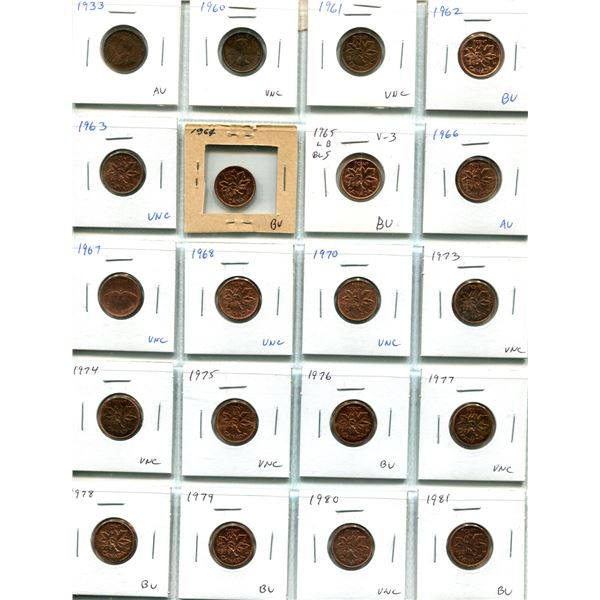 Lot of 20 Lustrous Canadian Small Cents 1933 – 1981. Includes 1933, 1960, 1961, 1962, 1963, 1964, 19