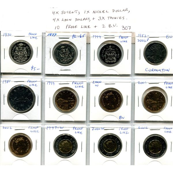 Lot of 12 Collector Coins.  Includes 4 50 Cents, 1 Nickel Dollar, 4 Loon Dollars and 3 Toonies. 10 c