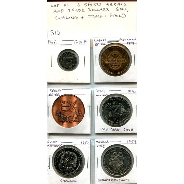 Lot of 6 Sports Medals & Trade Dollars. Includes PGA golf, 2 Brier Curling, and 3 track and field.