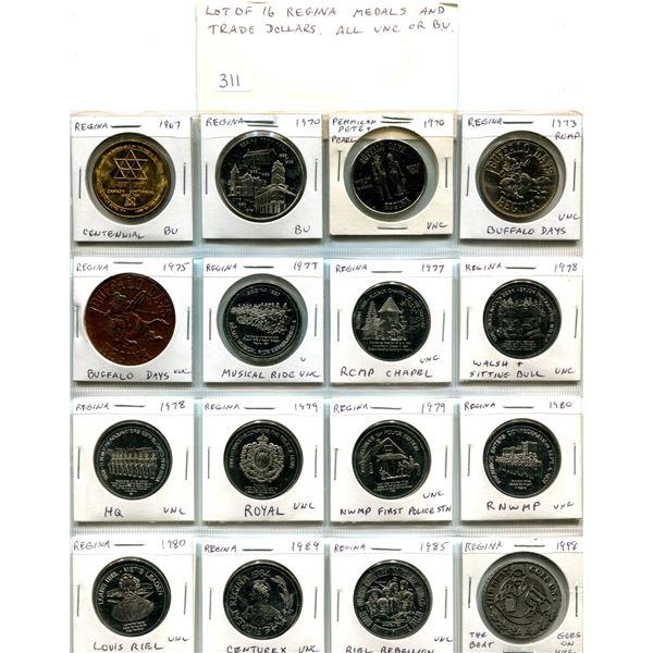 Lot of 16 Regina Medals & Trade Dollars. Includes 1967 Regina Centennial, City Hall, Pemmican Pete &