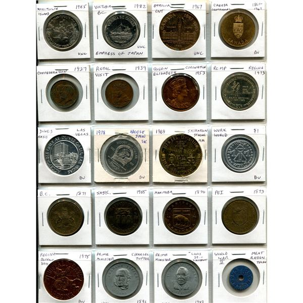 Lot of 20 Trade Dollars, Tokens and Medals. Includes Manitoulin Island, Victoria, Ottawa Centennial,