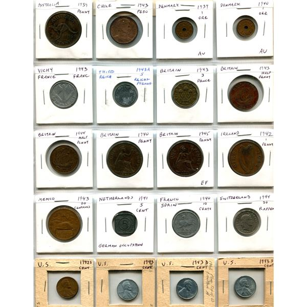 Lot of 20 World War II Coins from Australia, Chile, Denmark, Vichy France, German Third Reich, Great