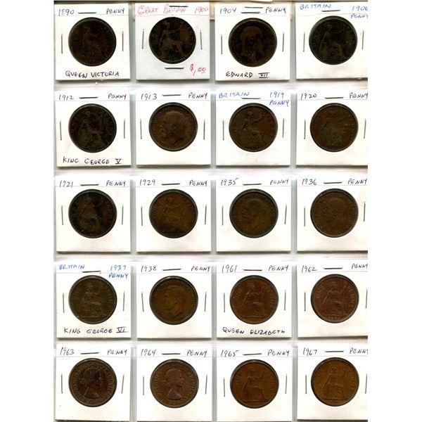 Lot of 20 British Pennies. Includes Victorian 1890 & 1900, Edward VII, George V, George VI & Elizabe
