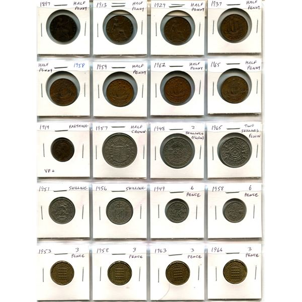 Lot of 20 British coins. Includes 8 Half Pennies including 1897, 1919 Farthing, Half Crown, Florin,