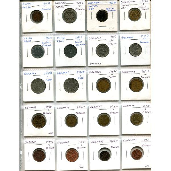 Lot of 20 German coins including Empire 1912D pfennig and 1906J 10 pfennig, Weimar Republic 1925G Re