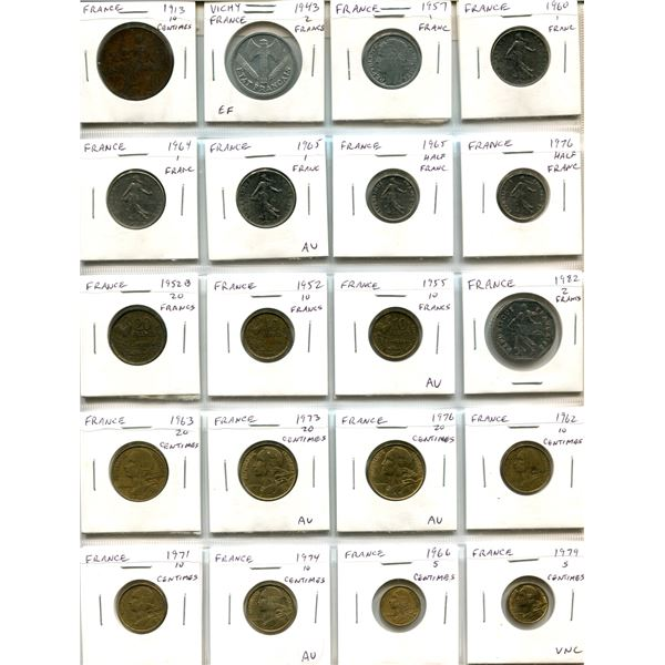 Lot of 20 French coins including 1913 10 Centimes, Vichy France and Modern Republic. 6 coins are AU
