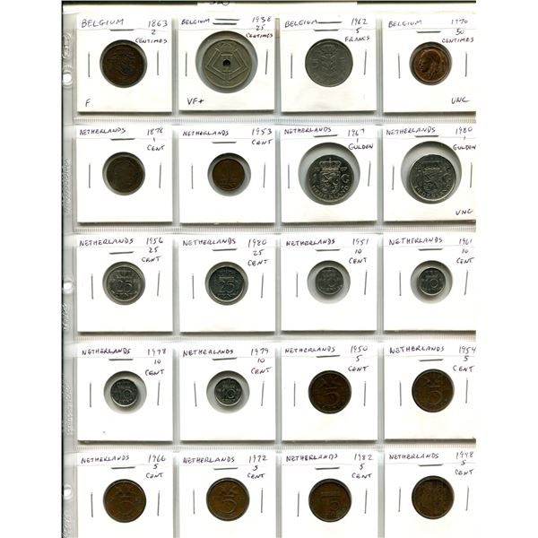 Lot of 20 coins from Belgium (includes 1863 2 centimes and VF+ 1938 2 centimes) and Netherlands incl