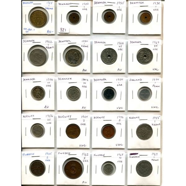 Lot of 20 Scandinavian coins including VF Denmark 1925 1 krone, Finland, Norway and Sweden, includin