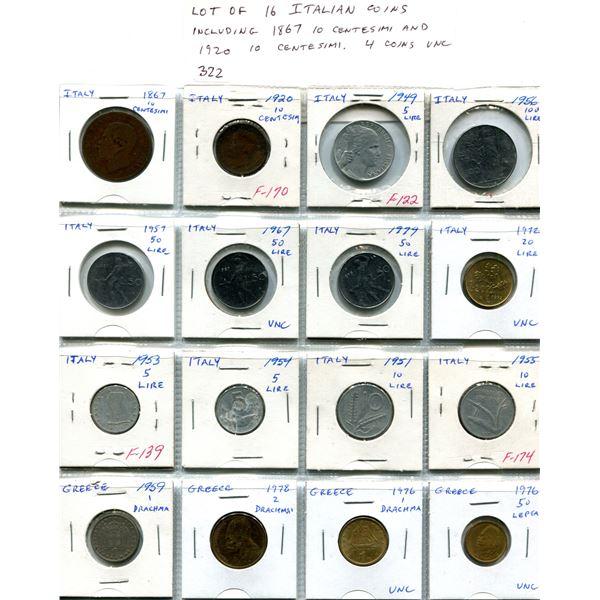 Lot of 16 Italian coins including 1867 10 Centesimi and 1920 1 Centesimi. 4 coins are Unc. A nice se