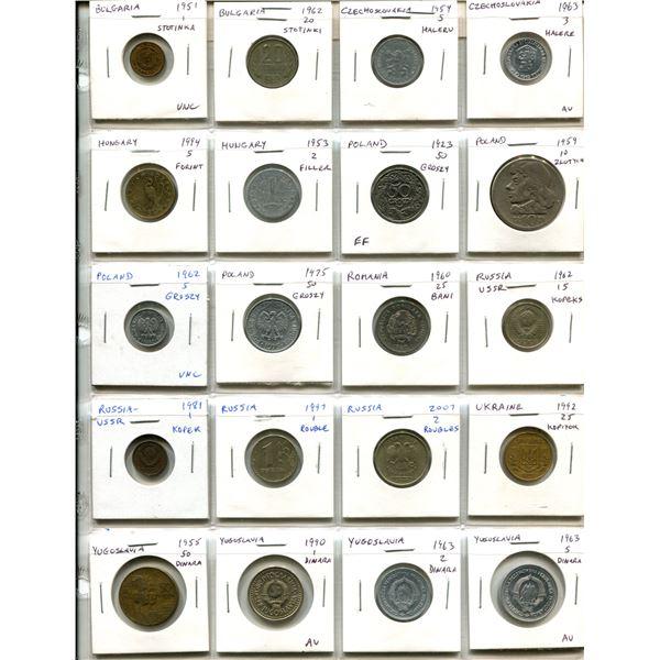 Lot of 20 Eastern European coins including Bulgaria, Czechoslovakia, Hungary, Poland (including 1923