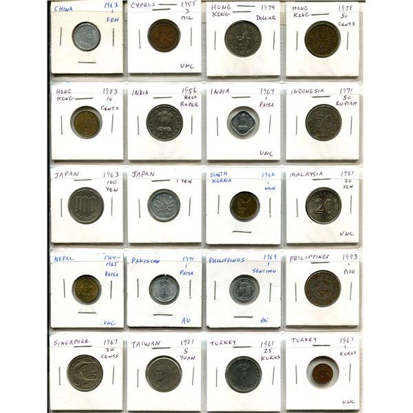 Lot of 20 Asian coins from China, Cyprus, Hong Kong, India, Indonesia, Japan, South Korea, Malaysia,