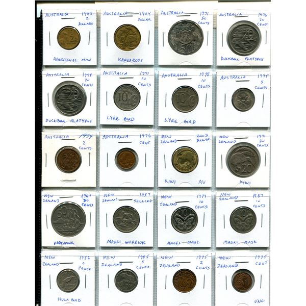 Lot of 20 coins from Australia (includes 50 cents, dollar & $2) and New Zealand including dollar, 50