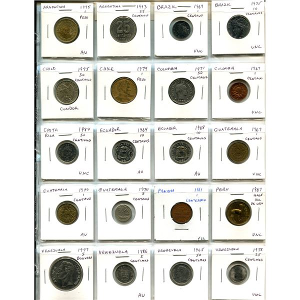 Lot of 20 Latin American coins from Argentina, Brazil, Chile, Colombia, Costa Rica, Ecuador, Guatema