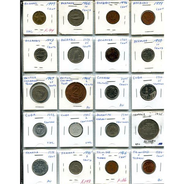 Lot of 20 Caribbean coins from Bahamas, Barbados, Bermuda, British Caribbean Territories, Cayman Isl