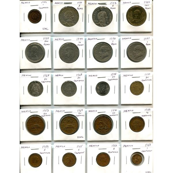 Lot of 20 old Mexican coins including Unc 1946 centavo and high denominations like 1000 pesos. 3 coi