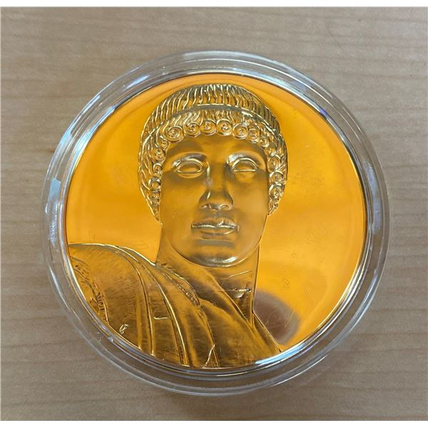 Apollo. From the Ancient Greece medals series. A beautiful gold-plated bronze medal measuring 50mm i