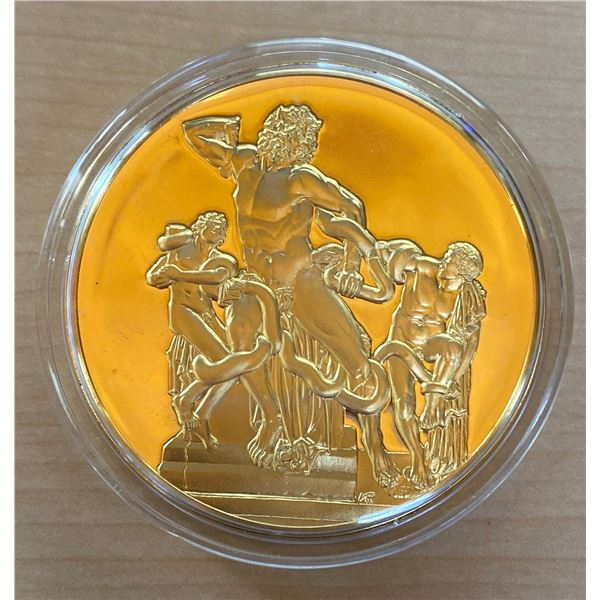 Laocoon. From the Ancient Greece medals series. A beautiful gold-plated bronze medal measuring 50mm