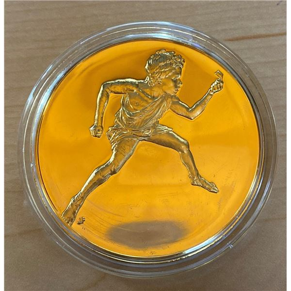 Jockey. From the Ancient Greece medals series. A beautiful gold-plated bronze medal measuring 50mm i