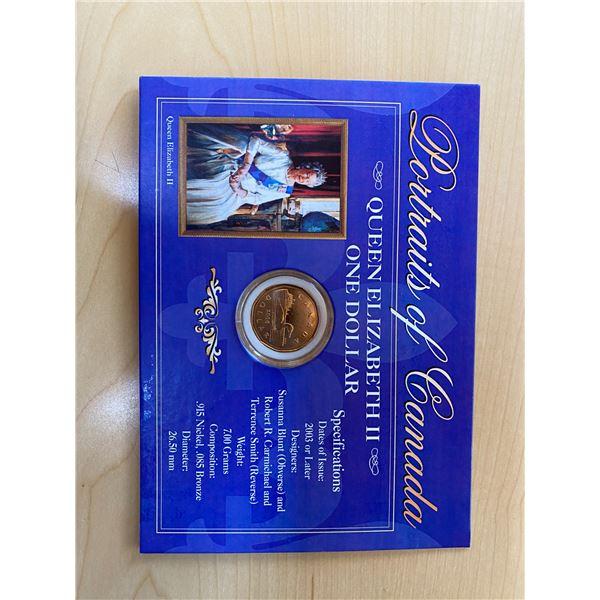 Portraits of Canada. Queen Elizabeth II 2006 Loonie Dollar. Includes Certificate of Authenticity Pro