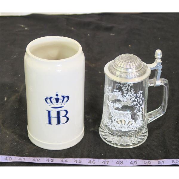 HB Mug (West Germany) & Glass Deer Scene Mug w/ Lid