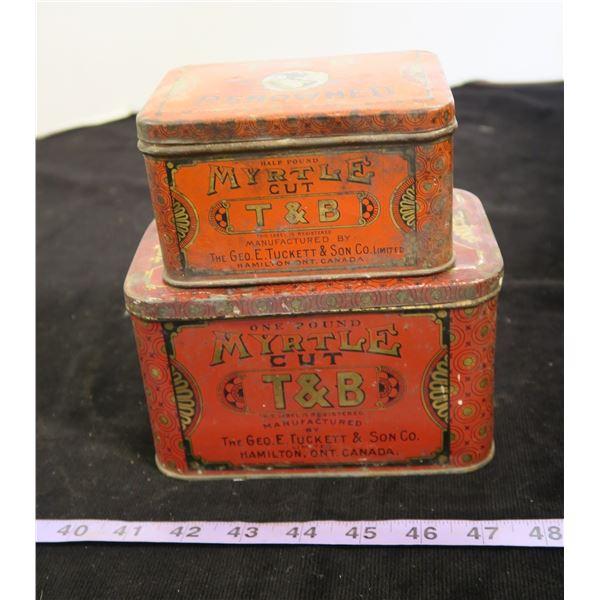 2 T&B Myrtle Cut Tobacco Tins ½lb & 1lb