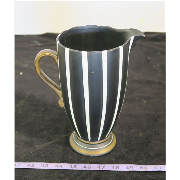 """English Black and White Pitcher, 9"""" Tall"""