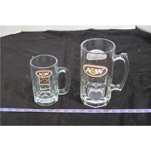 Two A&W Mugs, large and Extra Large