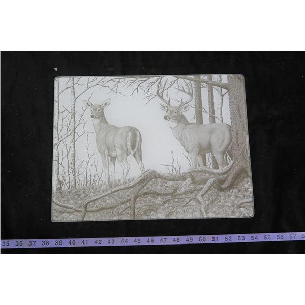 "Glass Cutting Board, Deer Themed - 11½""×15½"""