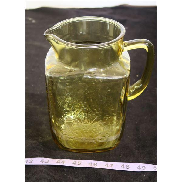 Large Amber Glass Pitcher - No Chips/Cracks
