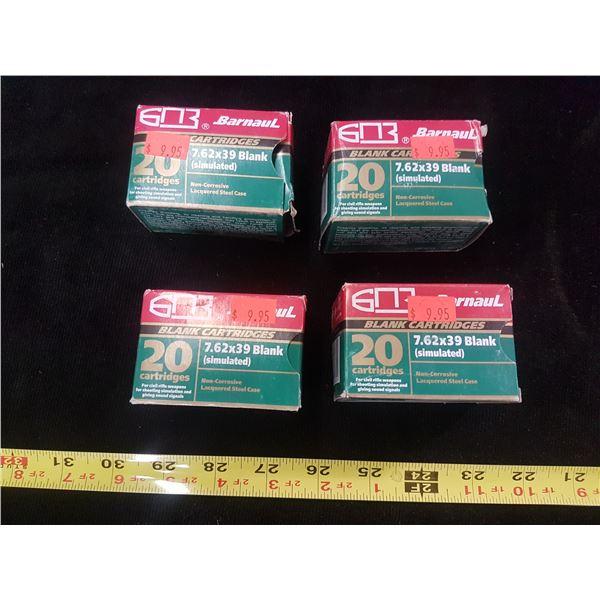 4 x 20 7.62 x 39mm Blank Cartridges - NO SHIPPING