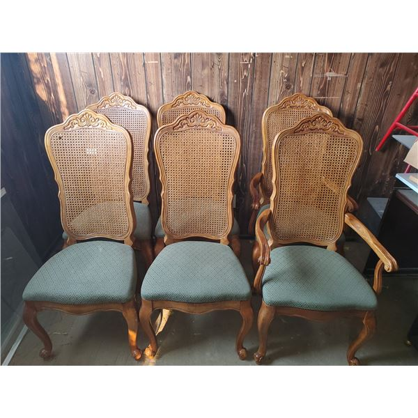 """6 dining chairs 2 w/ arms 44""""H back"""