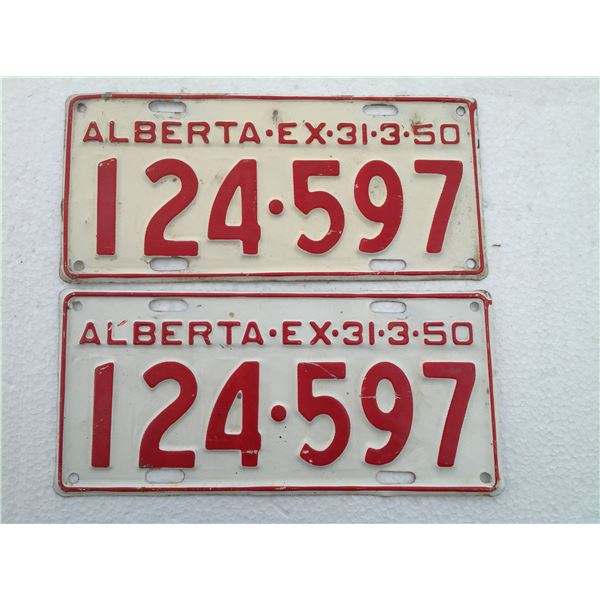 Matching Set 1950 Alberta License Plates