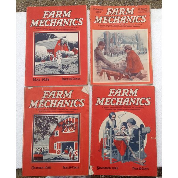 (4) 1928 Farm Mechanic Magazines