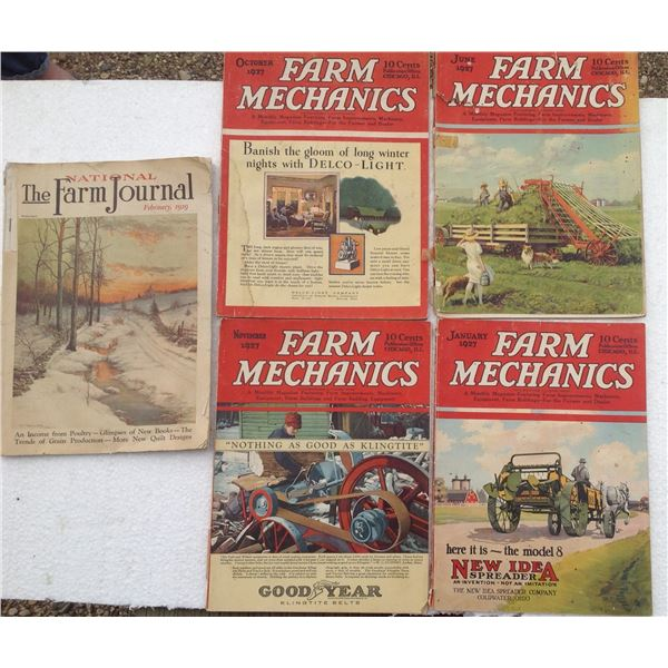 (4) 1927 Farm Mechanic Magazines