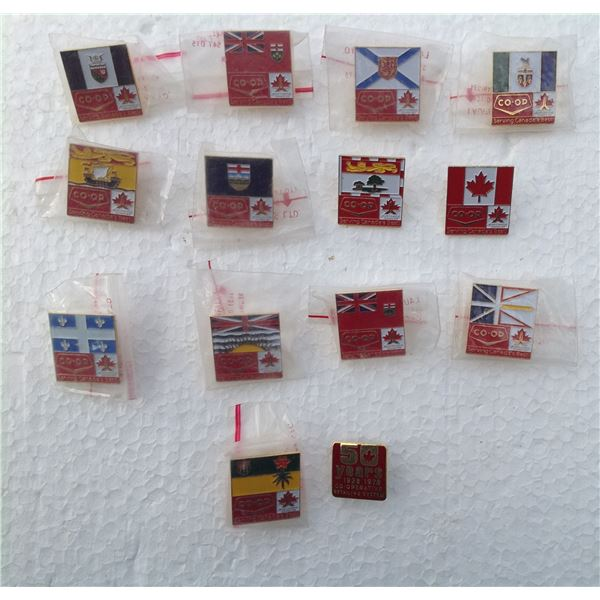 Complete Set Of CO-OP Provincial Pins 1989