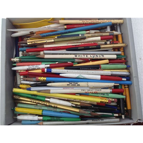 Box Of Miscellaneous Advertising Pens And Pencils
