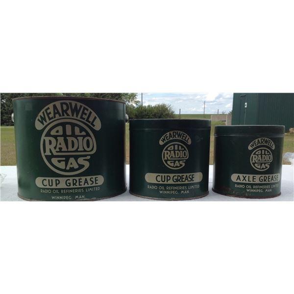 (3) Wear well Radio Oil Winnipeg Cup Grease Tins