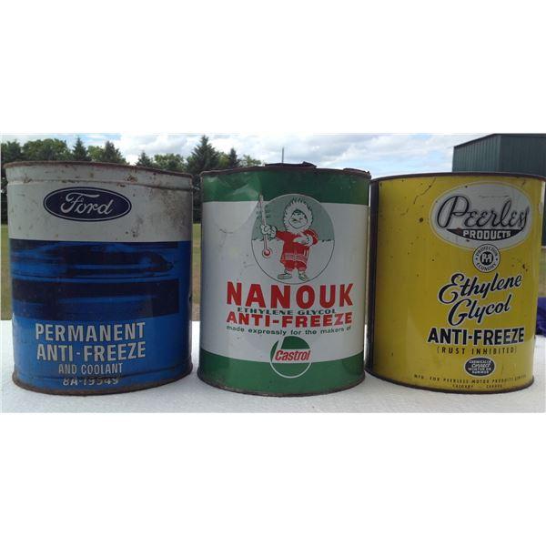 (3) Imperial Gallon Anti-Freeze Tins