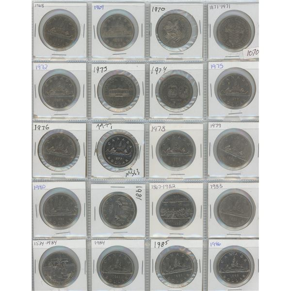 20 X 1968 1986 Canadian One Dollar Coins