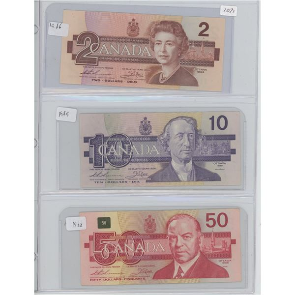 1986 2 Dollar & 1989 10 Dollar & 1988 50 Dollar Canadian  Bills